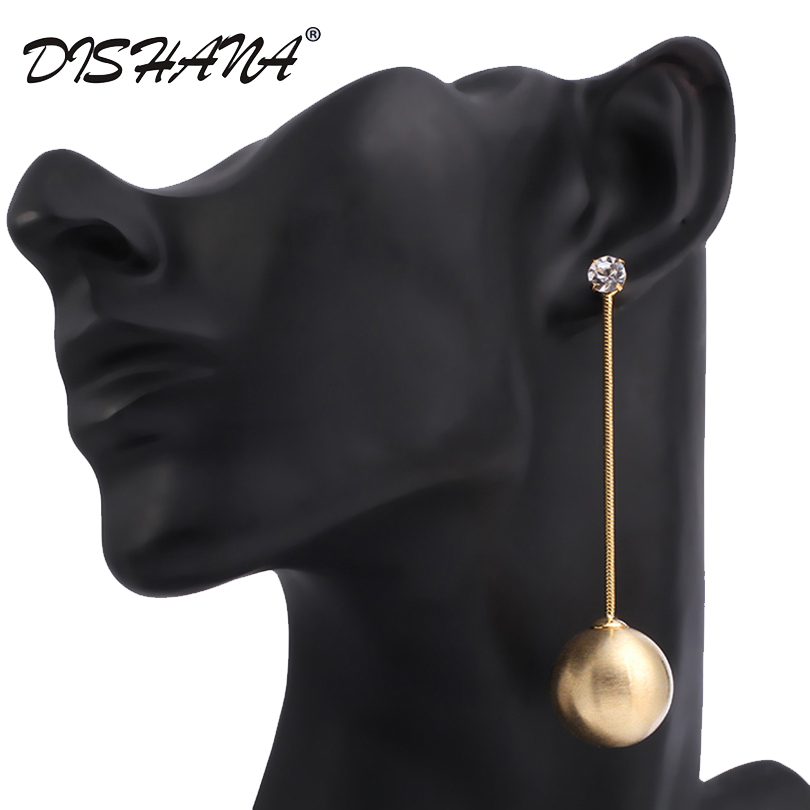 Dishana Jewelry Double Side Shining Design Hourglass Earrings Crystal Gold-Ball Stud Fesyen Long Earrings E0409
