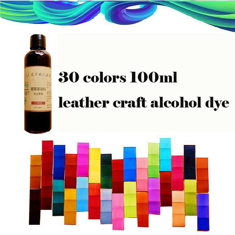 30 Colors Chosing 100ml Vegetable Tanned Leather  Cowhide Alcohol Dye  DIY Dyeing Leather Carving