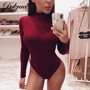 Dulzura cotone a maniche lunghe sexy delle donne della tuta 2020 autunno inverno femminile Mock Neck vestiti caldi slim fit solido di modo del corpo vestito 1