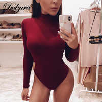 Dulzura cotone a maniche lunghe sexy delle donne della tuta 2019 autunno inverno femminile Mock Neck vestiti caldi slim fit solido di modo del corpo vestito