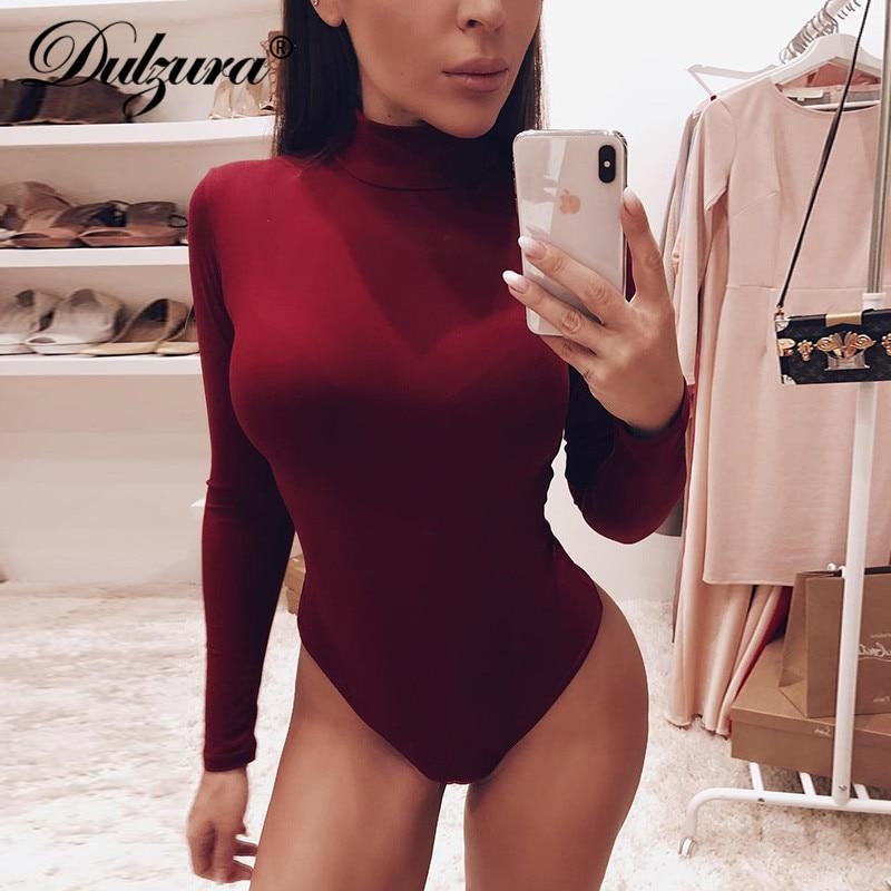 Dulzura cotton long sleeve women sexy bodysuit 2020 autumn winter female Mock Neck warm clothes slim fit fashion solid body suit(China)