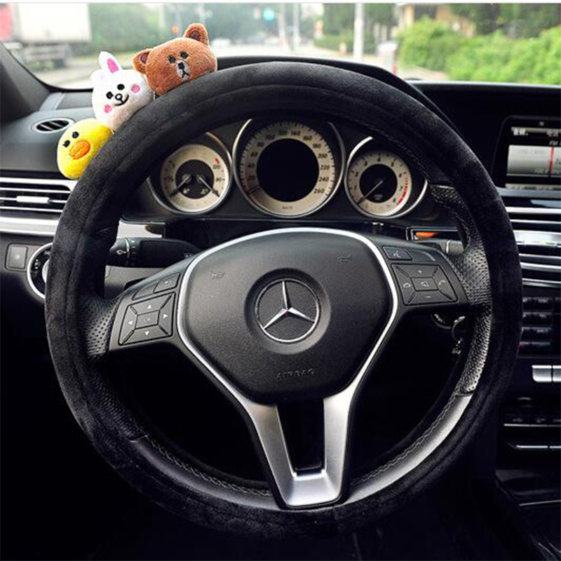 Cute Plush Volante Car Steering Cover Animal Protective Wrap Decoration fit Steering Wheel 38cm 15inch Universal for Girls Women