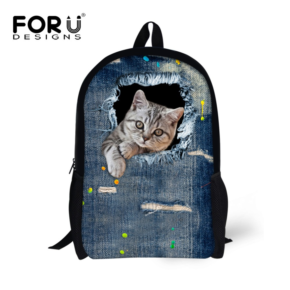 Brand Design Girls Children School font b Backpack b font 3D Pet Cat Printing Bagpack Teenager