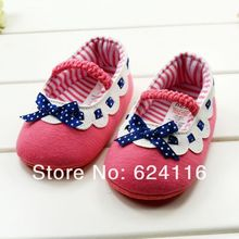 BX30 6pairs lots New Lovely Cute Cotton Bow Polka dots Baby Shoes Prewalkers First Walkers Footwear