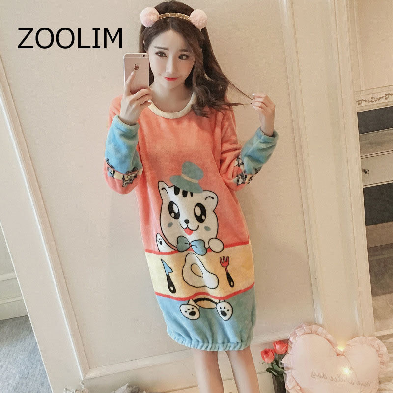 ZOOLIM Flannel Night Dress Sleepwear Nightgown Nightwear Sleepshirts ...