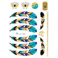 30Pcs Blue Gold Golden Large Tattoo Stickers Indian Feather Flash Tattoos Glitter Temporary Tattoo Sexy Products tatuagem