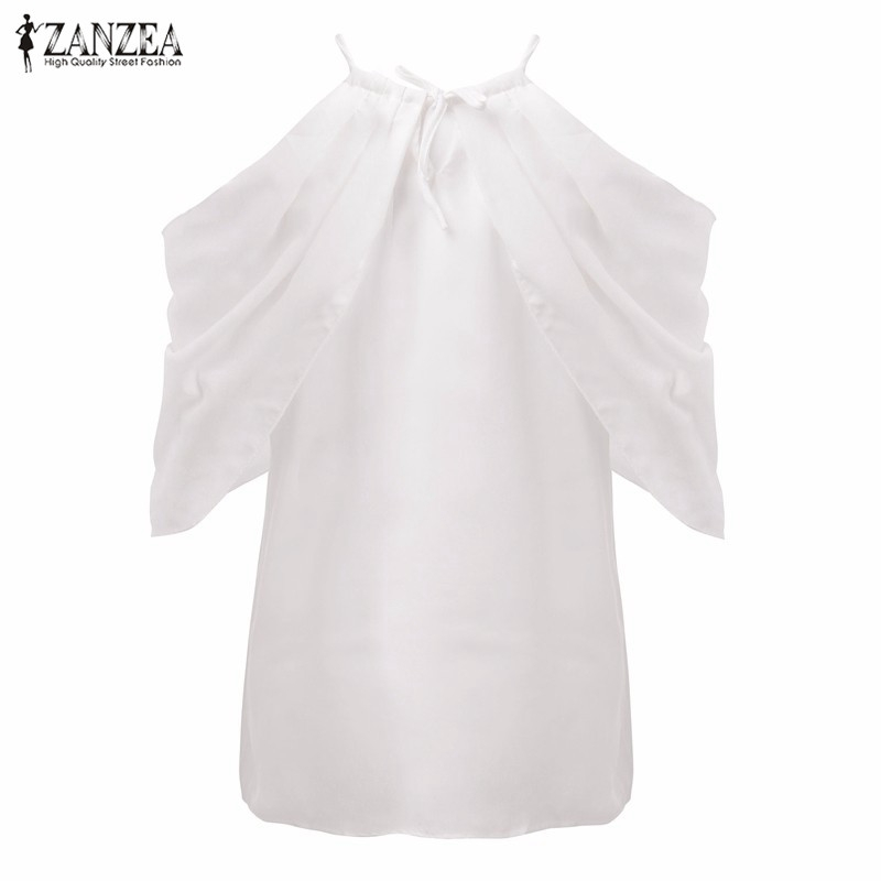 6dd71287284 Blusas 2018 Summer Style Halter Neck Bowknot White Shirts Elegant Women  Sexy Off Shoulder Blouses Casual Slim Chiffon Tops-in Blouses   Shirts from  Women s ...