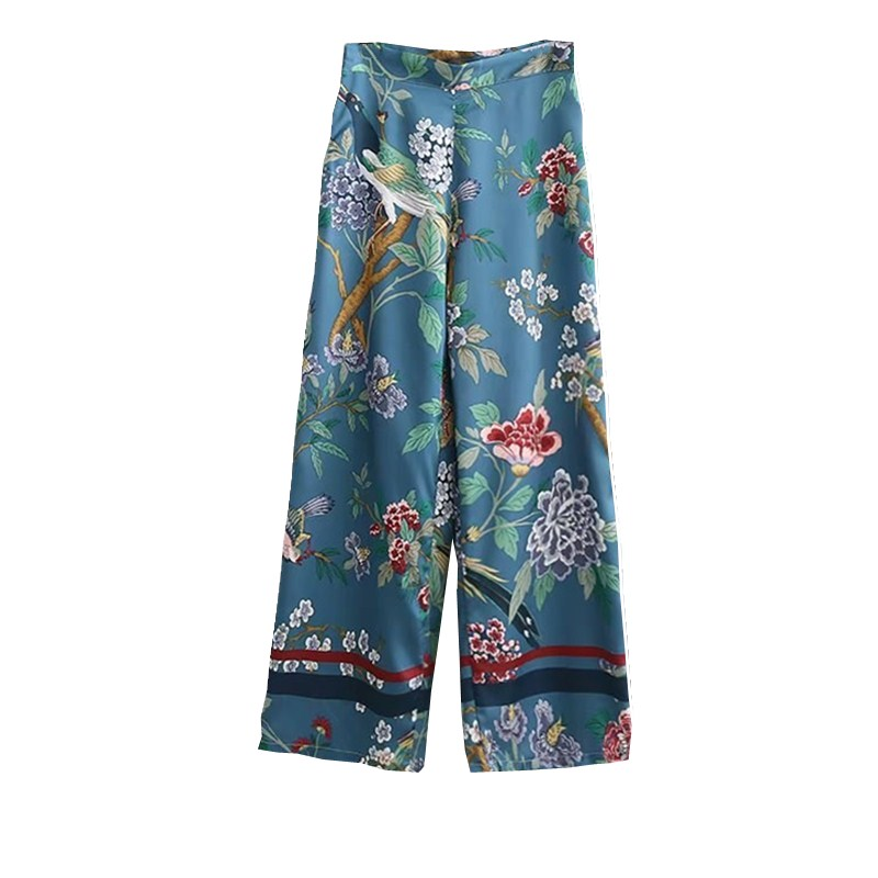 Women Floral Bird Print   Wide     Leg     Pants   Casual Loose   Pant   2018 High Waist Chiffon Satin Trousers