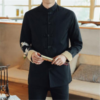 2018 new China Fengyun crane embroidered jacket men's leisure retro buckle Tang suit big size collar coat