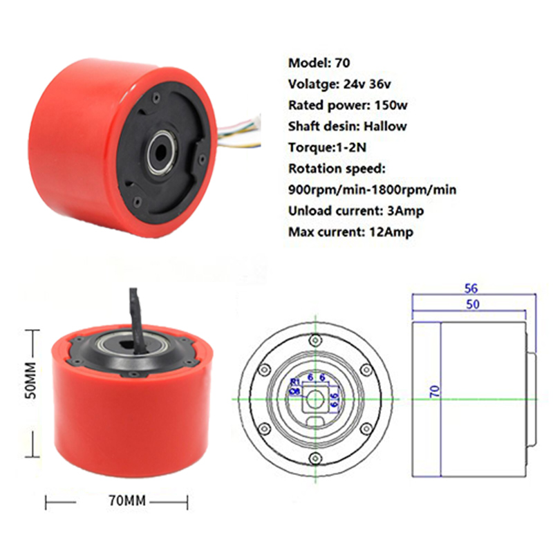 5065 14N12P 3 70mm 24v-36v 150w Hallow Shaft Hub Motor Wheel hall sensor mini Scooter without Shaft for Electric Skateboard купить
