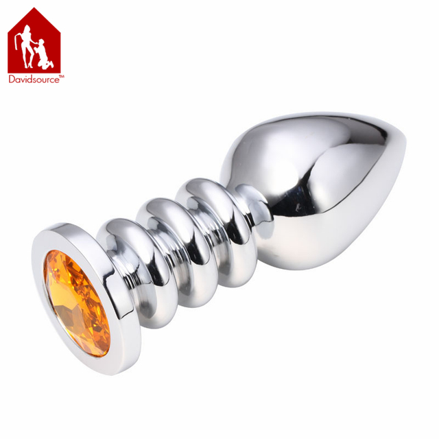 Davidsource Jeweled Metal Silver Screw Threads Butt Plug L Size 100mm Long 38mm Wide Jewelry Anal Toy Sex Fetish Unisex Sex Toy