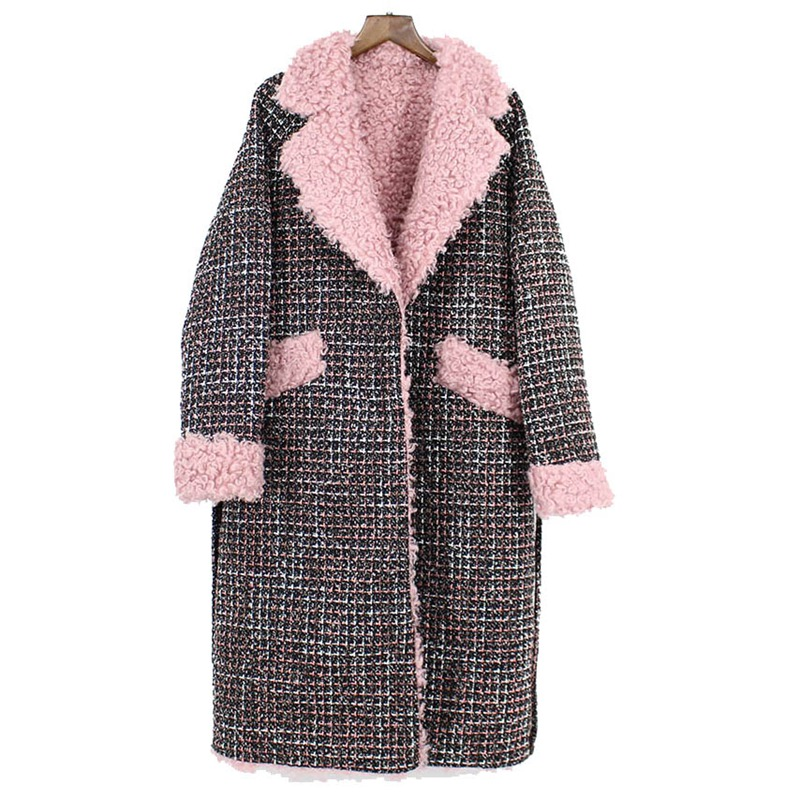 2018 new knitted woollen jacket women natural sheep wool fur coat for lady middle long slim
