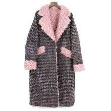 2019 Mới Áo Khoác Nữ Cừu Tự Nhiên Len Áo Khoác Lông Thú Trung Dài Thời Trang Chuyển Xuống Mùa Đông Ấm Khoác Ngoài Plus Size Nữ quần áo