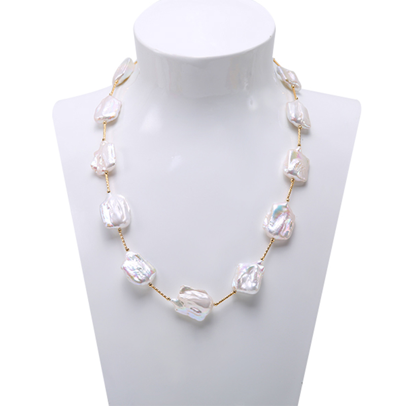 JYX Classic White Baroque Freshwater Cultured Pearl Necklace Party Jewery for Women Gift AAA 22 Inches anogol 28 inches