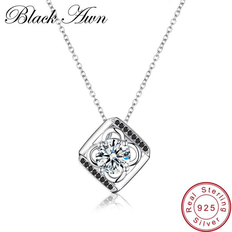 [BLACK AWN] Genuine 925 Sterling Silver Necklace for Women Flower Female Sterling Silver Jewelry Necklaces Pendants P031