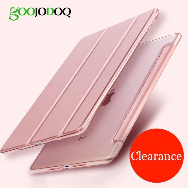 Para iPad 9,7 de 2017, caso 2018 ultra Slim de cuero de la PU cubierta inteligente + PC duro Tri-soporte para iPad 2018 caso 9,7 A1822 a1893