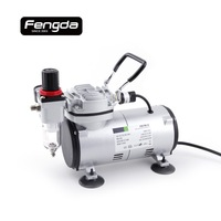 Fengda FD18 2 oil free piston compressor AS1202 mini pump for tattoo body paint cake decorate air tools