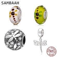 Sambaah Dragonfly Dangle Charm 925 Sterling Silver Dragonfly on Silk Murano Glass Beads fit Original Pandora Animal Bracelet цена