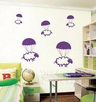 Paracaidismo Ovejas Decals Stickers Wallpaper Arte Gráfico Nursery Baby Room Count Animal Lindo para el hogar 100*110 CM Libre gratis