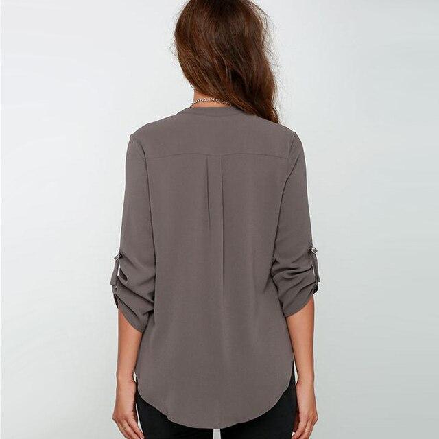 Big Yard Tops Women V-neck Chiffon Blouses 3/4 Sleeve Female ShirtS New Fashion Large Size Feminina Camisas Blusas Ladies Tops 2