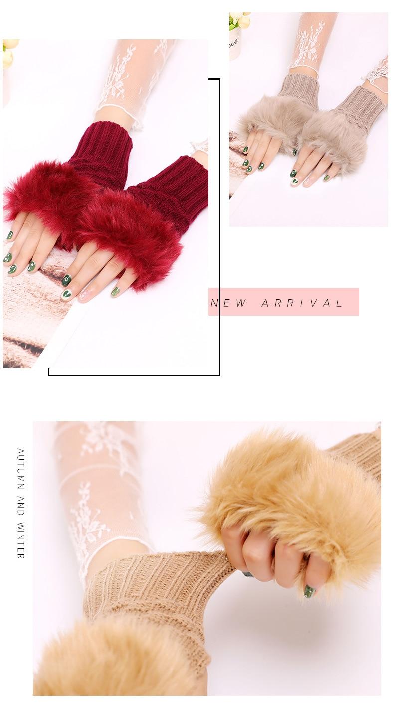 Winter Knitted Gloves New Wrist Trim Gloves 13