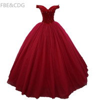 Real Picture Burgundy Quinceanera Gowns 2018 V NeckBeaded Ruffle Lace Up Back Sweet 16 Dress For