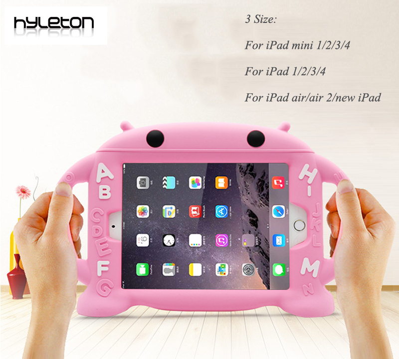 Hyleton Silicone Case for iPad mini Kids protective Soft Cover for iPad Mini 1 2 3 4 with Shockproof Stand and holder for ipad protective abs silicone bumper case for ipad mini retina ipad mini yellow transparent