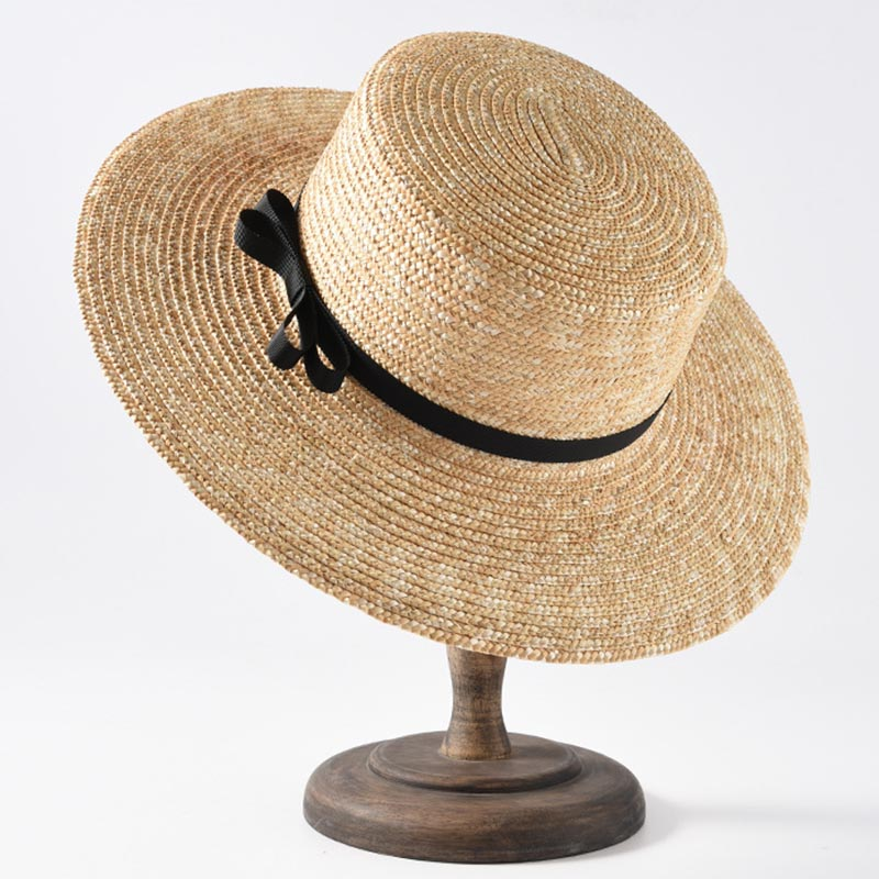 17a6269631f4b1 2019 Classical Beach Hat Ribbon Bowknot Boater Hat Wide Brim Summer Sun Hats  for Women Ladies