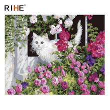 RIHE Cat Flower DIY Oil Painting By Numbers Cuadros Decoracion Acrylic Paint On Canvas Modern Wall Pictures For living room