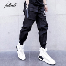 New Side Ribbon Pockets Pencil Pants Mens Hip Hop Patchwork Cargo Ripped Sweatpants Joggers Trousers Male Fashion Full Length