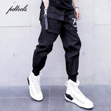 New Side Ribbon Pockets Pencil Pants Mens Hip Hop Patchwork Cargo Ripped Sweatpants Joggers Trousers Male Fashion Full Length(China)
