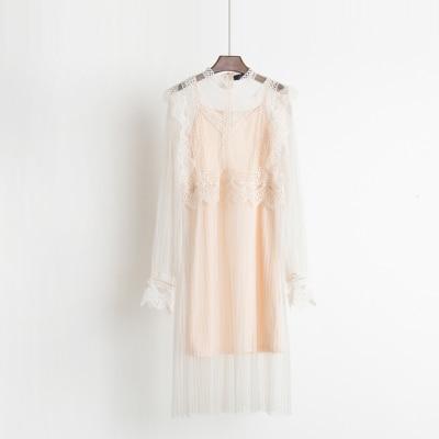 2017 Autumn new female ruffles sweet gauze lace pressure pleated one-piece dress women's waist slim full dress twinset 2