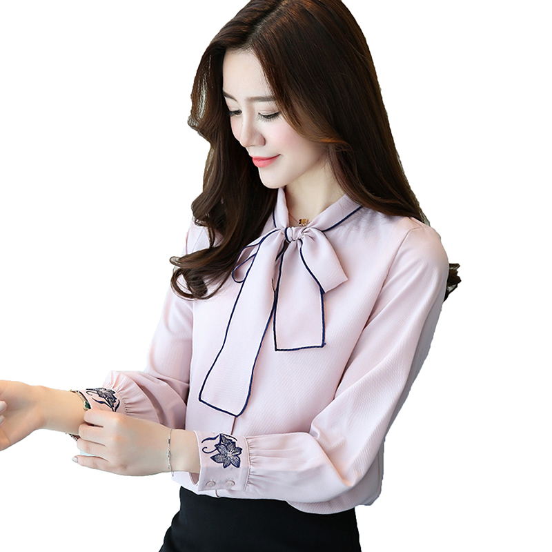 2018 New Fashion Blusas Y Camisas Mujer Peter Pan White Long-Sleeved Shirt Ladies Tops Women Chiffon Blouse L-102