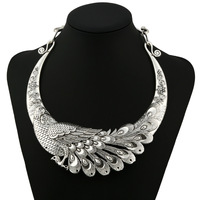2017 Fashion Silver Peacock Vintage Collar Choker Necklace Maxi Ethnic Statement Necklace Women Jewelry Wholesale