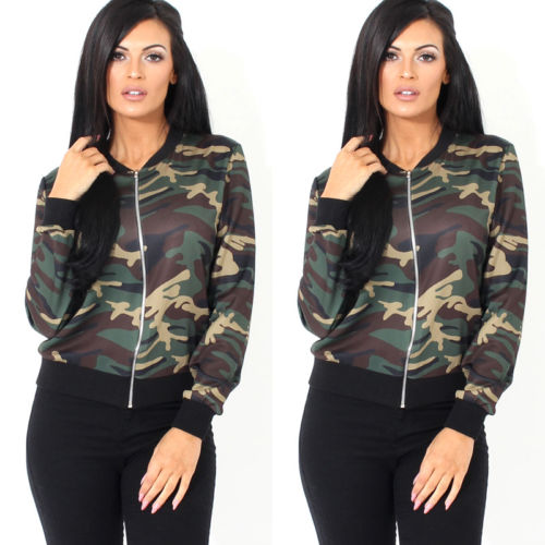 2017 New Women Vintage Military Camo Classic Slim Jackets Ladies Padded Bomber Jacket Camouflage Coat Outwear Casual Clothes