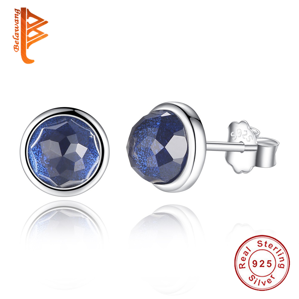 Belawang Genuine Real 925 Sterling Silver September Birthstone Droplets  Blue Crystal Stud Earrings For Women Fashion