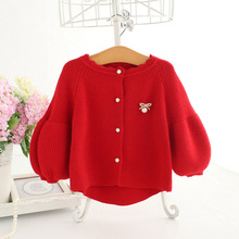 Cardigan Sweater Baby-Girl Autumn Sequined for Jacket Lantern-Sleeve Bow Pearls Children