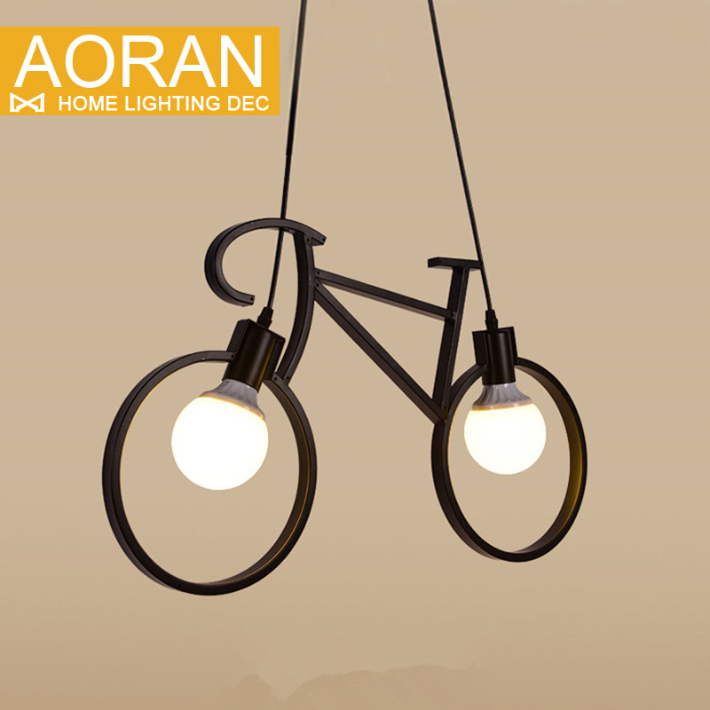 ФОТО Creative Restaurant Lamp Modern Pendant Ligts Simple Bicycle Pendant lamps E27 White/Black AC110V-240V Home lamp Lighting