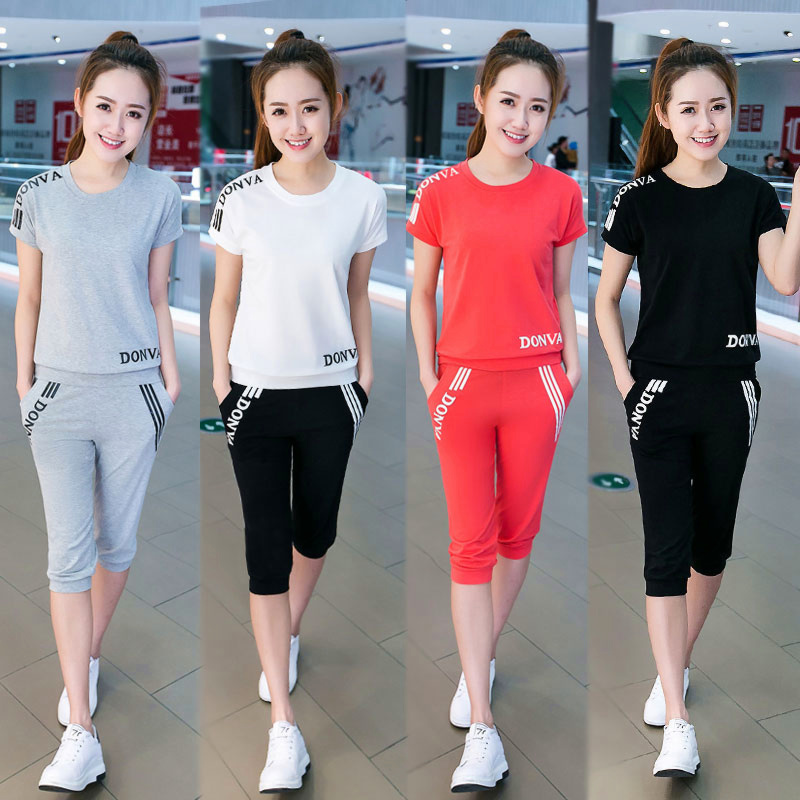 Sportswear Women Summer Short New Sleeved Seven Pants Slim Sports Clothes Slim Leisure Students Two Sets Women CLOTHER ...