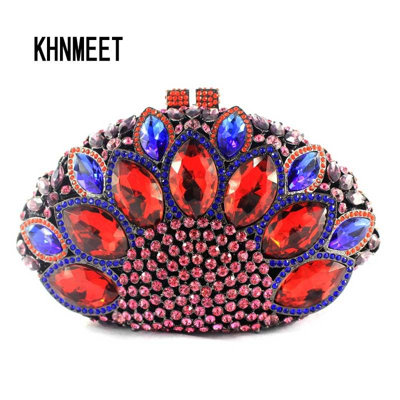 LaiSC Peacock shape ladies Clutch bag  red diamond crystal women party bags vintage bride wedding mini handbag evening bag SC024
