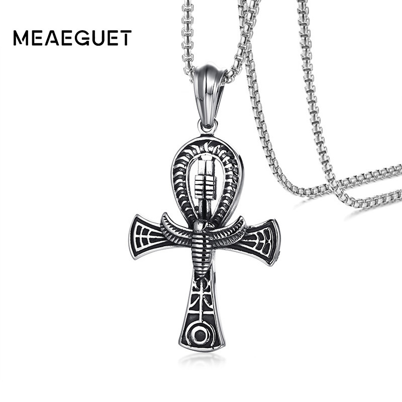 Meaeguet Punk Street Key To Life Egypt Cross Necklaces For Men Middle Ages Stainless Steel Totem Scarab Ankh Pendant Jewelry