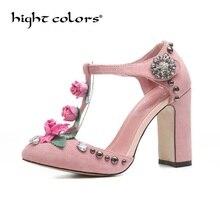 Europe America Fashion Summer New Women s Shoes Scrub Sheepskin T-Strap  Flowers Women Pumps Rivets 1e51aea3fa69
