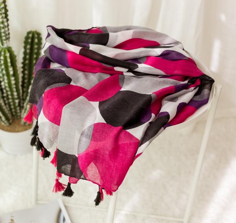 2018 Fashion Big Dot Scarves Shalws Women Spot Polka Tassel Cotton Voil Scarf Wrap Hjiab Muffler 2 Color 10pcs/LOT Free Shipping
