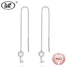 WK 2017 NEW Pure 925 Sterling Silver Earrings Long Box Chain Ear Line Hanging Love Key Earring For Women Fashion Gifts WL EB013