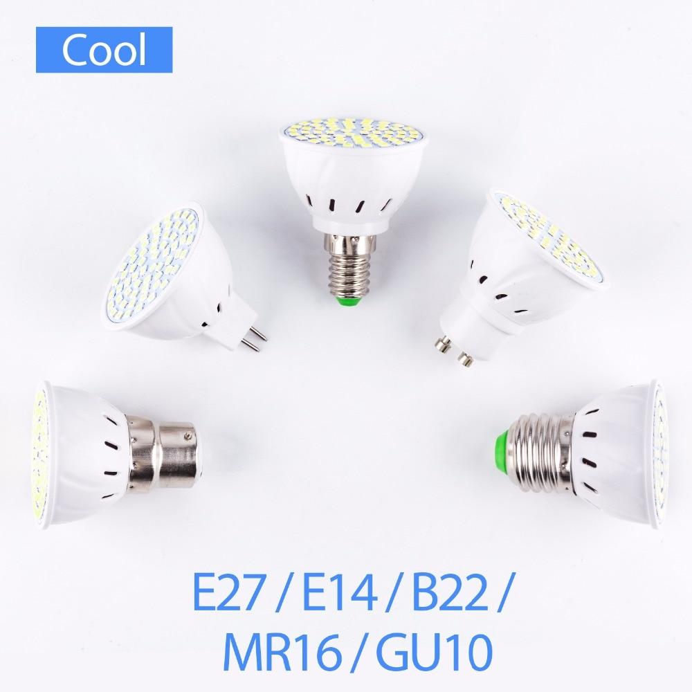 8PCS GU10 LED Lamp GU5.3 Spotlight Bulb MR16 bombillas led E14 B22 Light Bulb 48 60 80leds 2835 E27 Ampoule led maison 5W 7W 9W