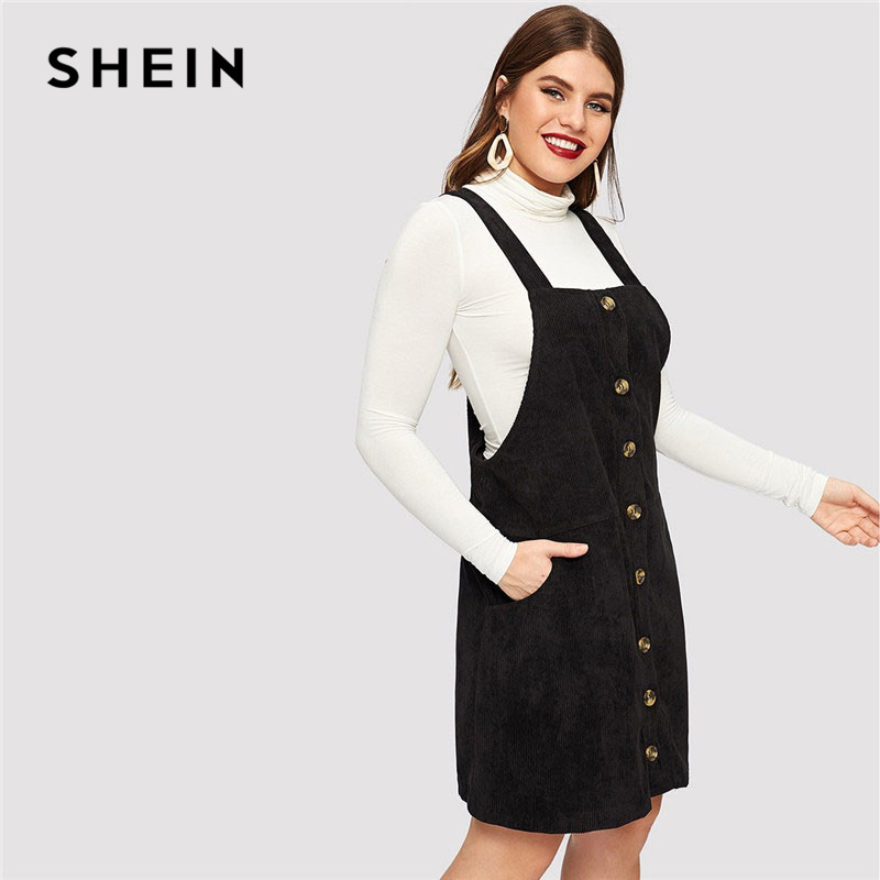 SHEIN Black Plus Size Thick Strap Button Up Cord Overall Short Dress ...