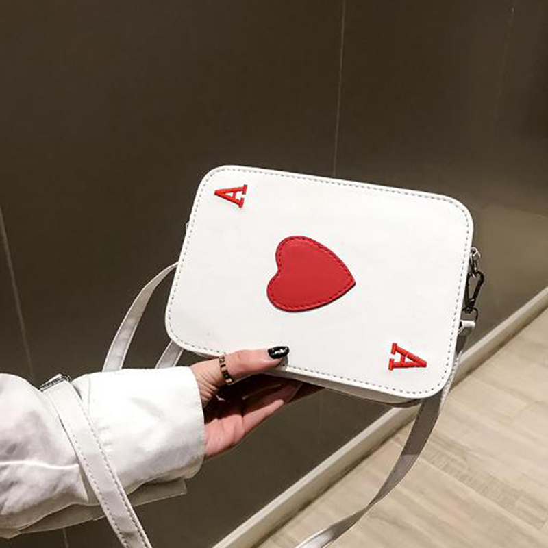 Korean Version New Creative Funny Messenger Bag Playing Cards Shape Funny Gift Heart Packing Cubes Shoulder Bag