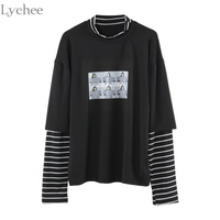 Lychee Spring Autumn Women T Shirt Character Letter Print Stripe Patchwork Casual Loose Long Sleeve T