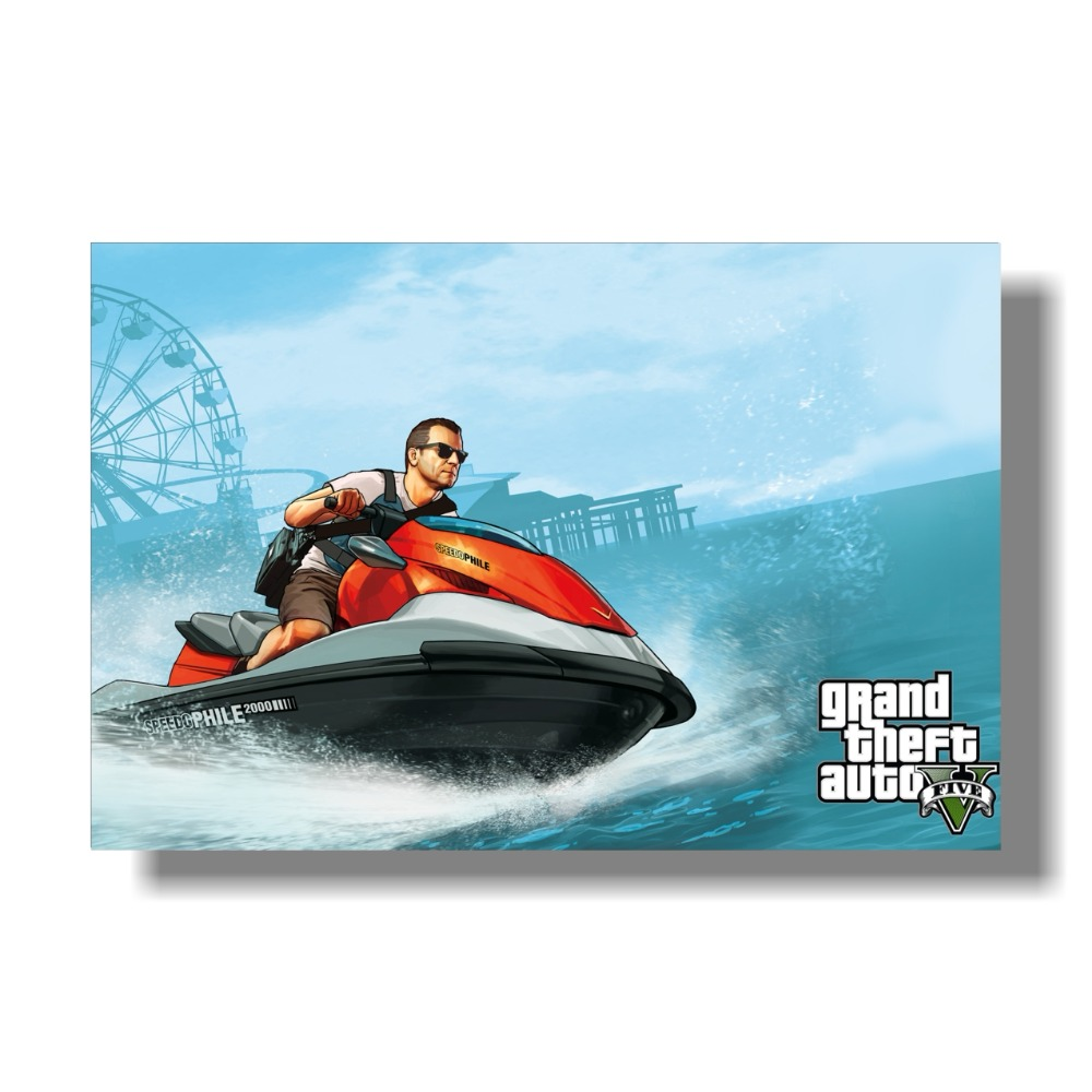 Grand Theft Auto V Art Silk Print Fabric Poster Game Hot GTA 5 - Տնային դեկոր - Լուսանկար 6