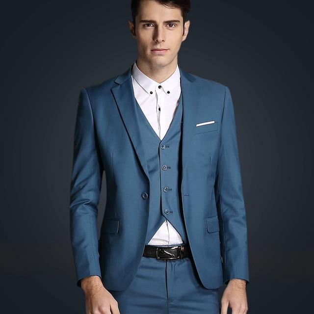 (Chaqueta + Chaleco + Pantalones) Los nuevos 2016 hombres de moda de tres piezas traje de boda/de los hombres Tuxedo Marca Moda Trajes Formales de Negocios